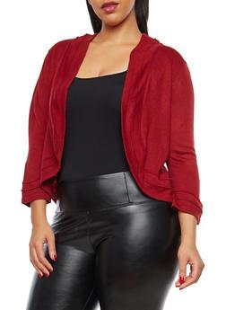 Plus Size Knit Shrug Sweater - 8424074059911
