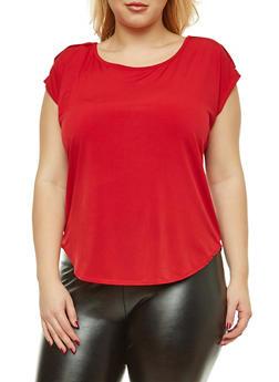 Plus Size Short Sleeve Button Shoulder Top - 8428020620265