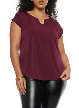 Plus Size Cap Sleeve Top with Metallic Detail - 8428020621449
