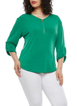 Plus Size Zip V Neck Blouse - 8428020621538
