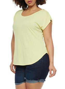 Plus Size Zipper Shoulder Detail Top - 8428020622262