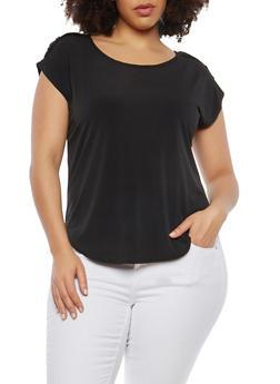 Plus Size Button Tab Shoulder Top - BLACK - 8428020622556