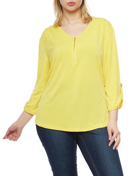 Plus Size Half Zip Top with Tab Sleeve - 8428020623856
