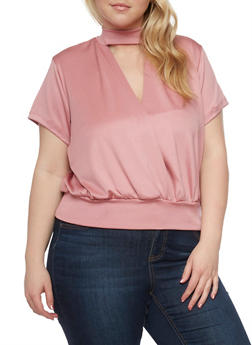 Plus Size Short Sleeve Faux Wrap Top - 8428020624195