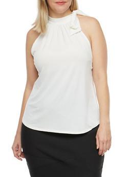Plus Size Sleeveless Tie Neck Top - 8428020624567
