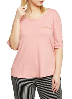 Plus Size Short Sleeve Tab Sleeve Top with Zipper Pocket - 8428020626562