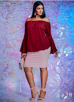 Plus Size Off the Shoulder Top with Bell Sleeves - BURGUNDY - 8428020626575