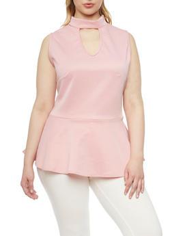Plus Size Sleeveless Peplum Top with Keyhole Neckline - 8428020626619