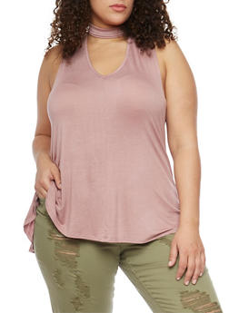 Plus Size Sleeveless Top with Choker and V Neckline - 8428020626627