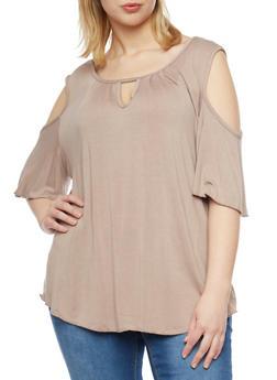 Plus Size Cold Shoulder Top with Keyhole Neckline - 8428020626777
