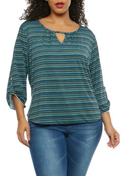 Plus Size Printed Keyhole Top - 8428020627852