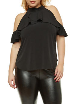 Plus Size Ruffled Cold Shoulder Top - 8428020628456