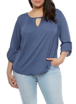 Plus Size Gauze Knit Top - 8428020629991
