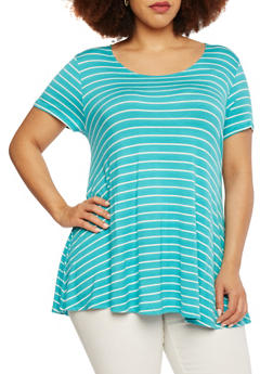 Plus Size Striped Swing Top - 8428054263088