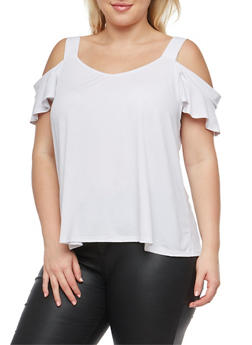 Plus Size Cold Shoulder Blouse - WHITE - 8428054264250