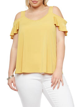 Plus Size Cold Shoulder Blouse - 8428054264250