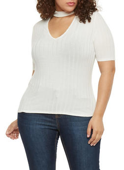 Plus Size Short Sleeve Rib Knit Choker Top - OFF WHITE - 8428054264436