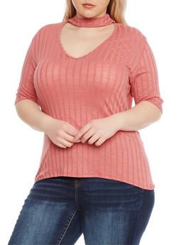 Plus Size Short Sleeve Rib Knit Choker Top - 8428054264436