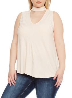 Plus Size Sleeveless Rib Knit Choker Top - 8428054265111