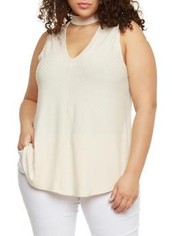 Plus Size Sleeveless Rib Knit Choker Top - 8428054265117