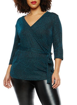 Plus Size Glitter Knit Faux Wrap Top - 8428054265212