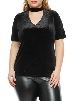 Plus Size Velvet Choker Neck Top - 8428054269781