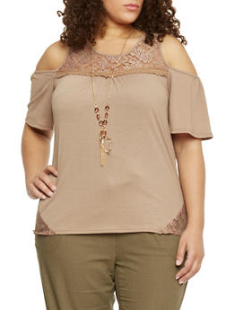Plus Size Lace Trimmed Cold Shoulder Top with Necklace - 8428058756980