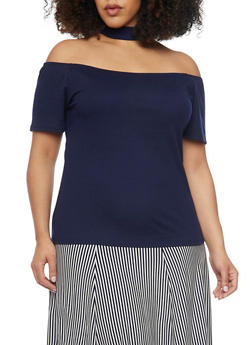 Plus Size Off the Shoulder Rib Knit Choker Top - 8428062701582
