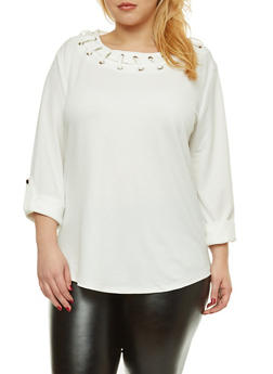 Plus Size Lace Up Neck Blouse - IVORY - 8428062704449