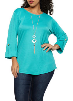 Plus Size Crepe Knit Top with Necklace - 8428062705326
