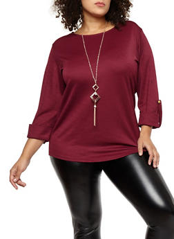 Plus Size Crepe Knit Top with Necklace - BURGUNDY - 8428062705326