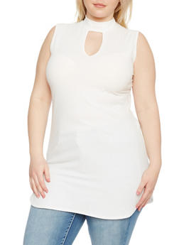 Plus Size Sleeveless Mock Neck Tunic Top - IVORY - 8428062705953