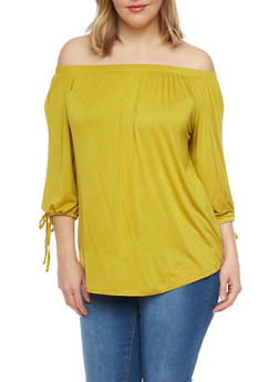 Plus Size Off the Shoulder Top with Tie 3/4 Sleeves - 8428062706331