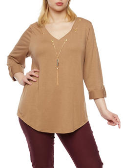 Plus Size Tunic Top with Removable V Neck Chain - 8428062706377