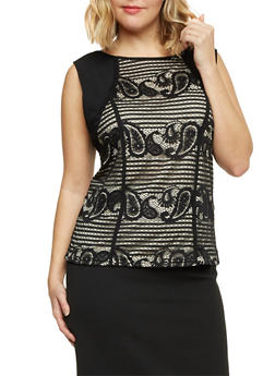 Plus Size Sleeveless Top with Lace Front - 8428064463099