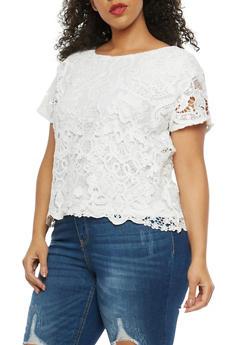 Plus Size Crochet Overlay Short Sleeve Top - 8428064463106