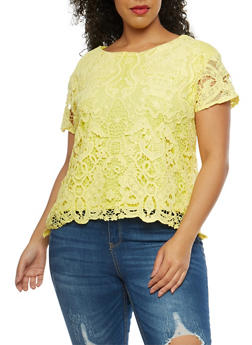 Plus Size Crochet Overlay Short Sleeve Top - 8428064463106