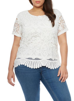 Plus Size Short Sleeve Crochet Scallop Hem Top - 8428064463109