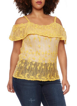 Plus Size Off The Shoulder Top in Sheer Lace - 8428064463199