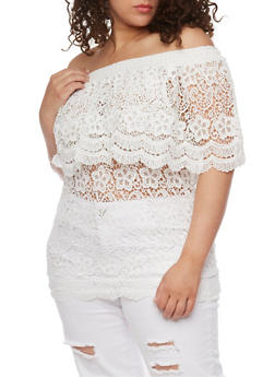 Plus Size Off The Shoulder Crochet Top - 8428064463215