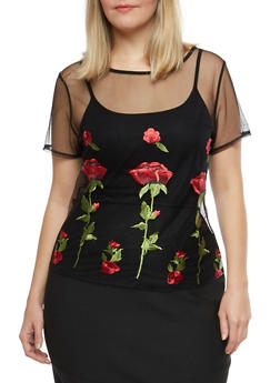Plus Size Floral Embroidered Mesh T Shirt - 8428064464687