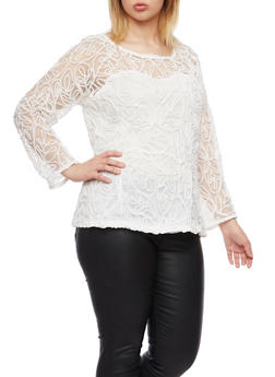 Plus Size Sheer Knit Swirl Top with Lined Bodice - IVORY - 8428064465049