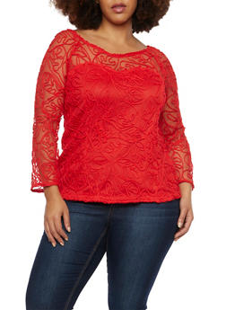 Plus Size Sheer Knit Swirl Top with Lined Bodice - 8428064465049