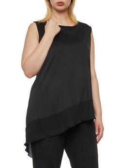 Plus Size Sleeveless Top with Asymmetrical Chiffon Hem - 8428069550377