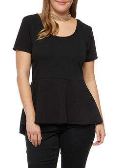 Plus Size Peplum Top with Removable Necklace - BLACK - 8428072245718