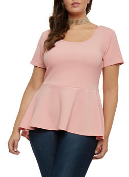 Plus Size Peplum Top with Removable Necklace - 8428072245718