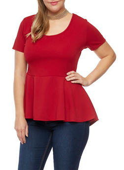 Plus Size Peplum Top with Removable Necklace - BURGUNDY - 8428072245718