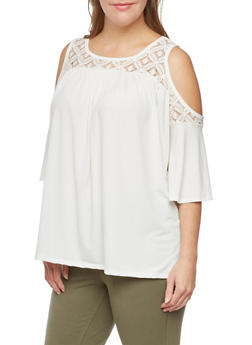 Plus Size Cold Shoulder Top with Crochet Paneling - 8428072245803