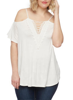 Plus Size Cold Shoulder Top with Caged Crochet Neck - IVORY - 8428072246006