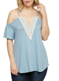 Plus Size Cold Shoulder Top with Caged Crochet Neck - 8428072246006